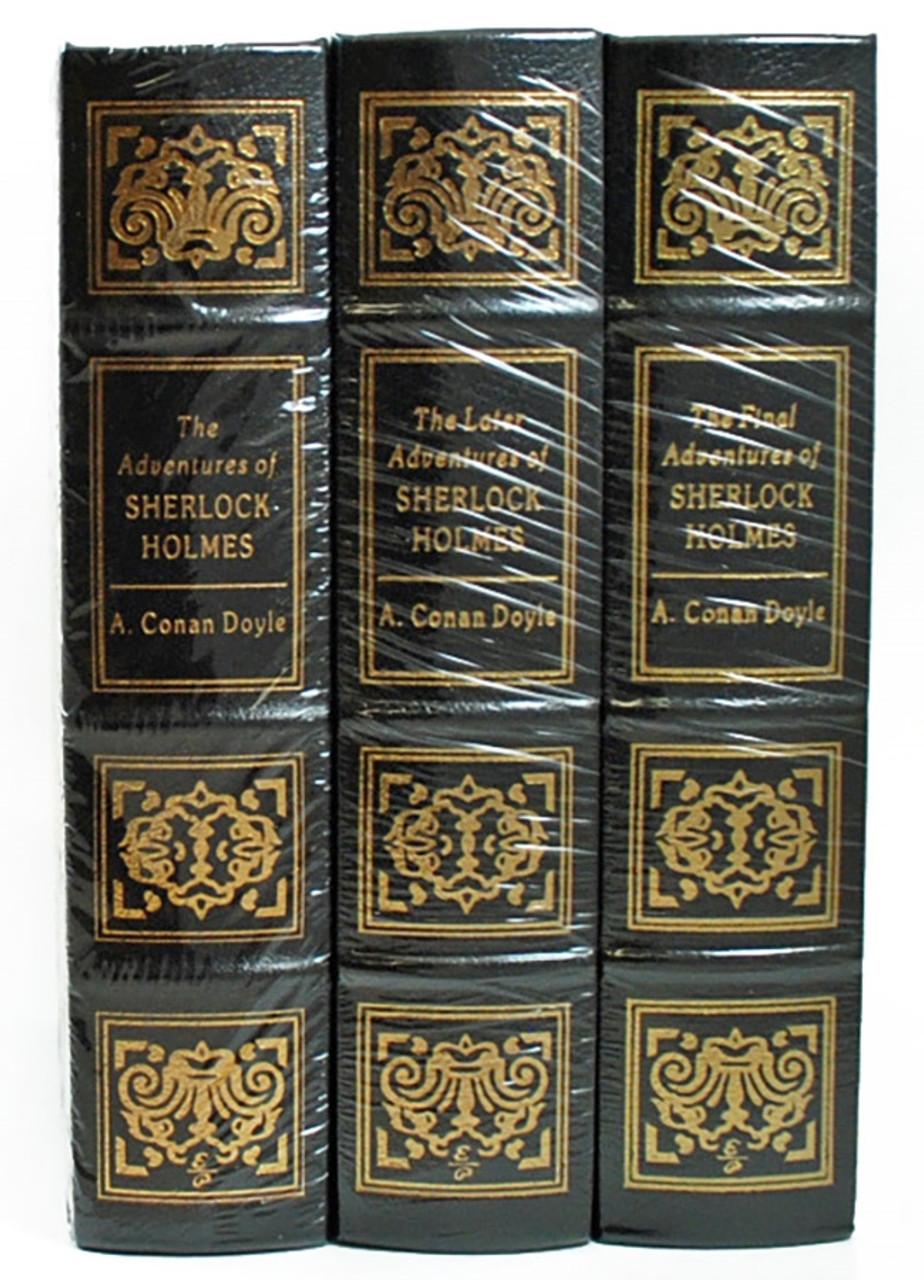 "Easton Press ""The Complete Sherlock Holmes"" Sir Arthur Conan Doyle, Leather Bound Trilogy, Very Fine"