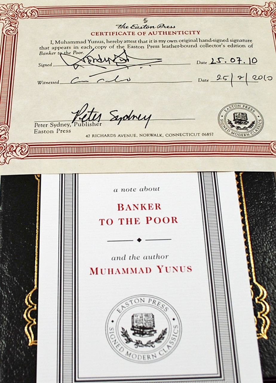"Easton Press, Muhammad Yunus ""Banker to the Poor"" Signed Limited Edition, Leather Bound [Very Fine]"