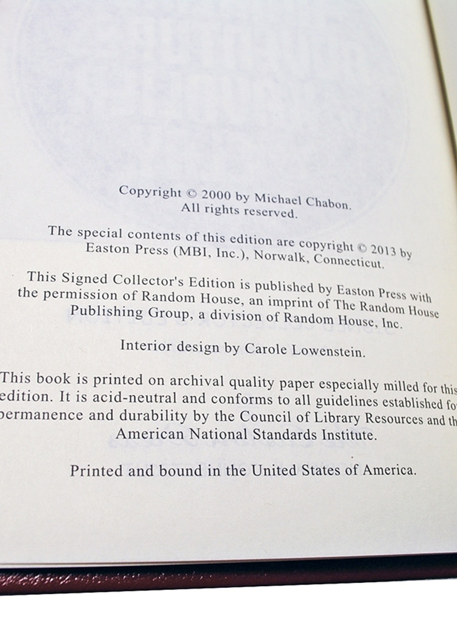 """Easton Press, Michael Chabon """"The Amazing Adventures of Kavalier & Clay"""" Signed Collector's Edition w/COA  [Very Fine]"""