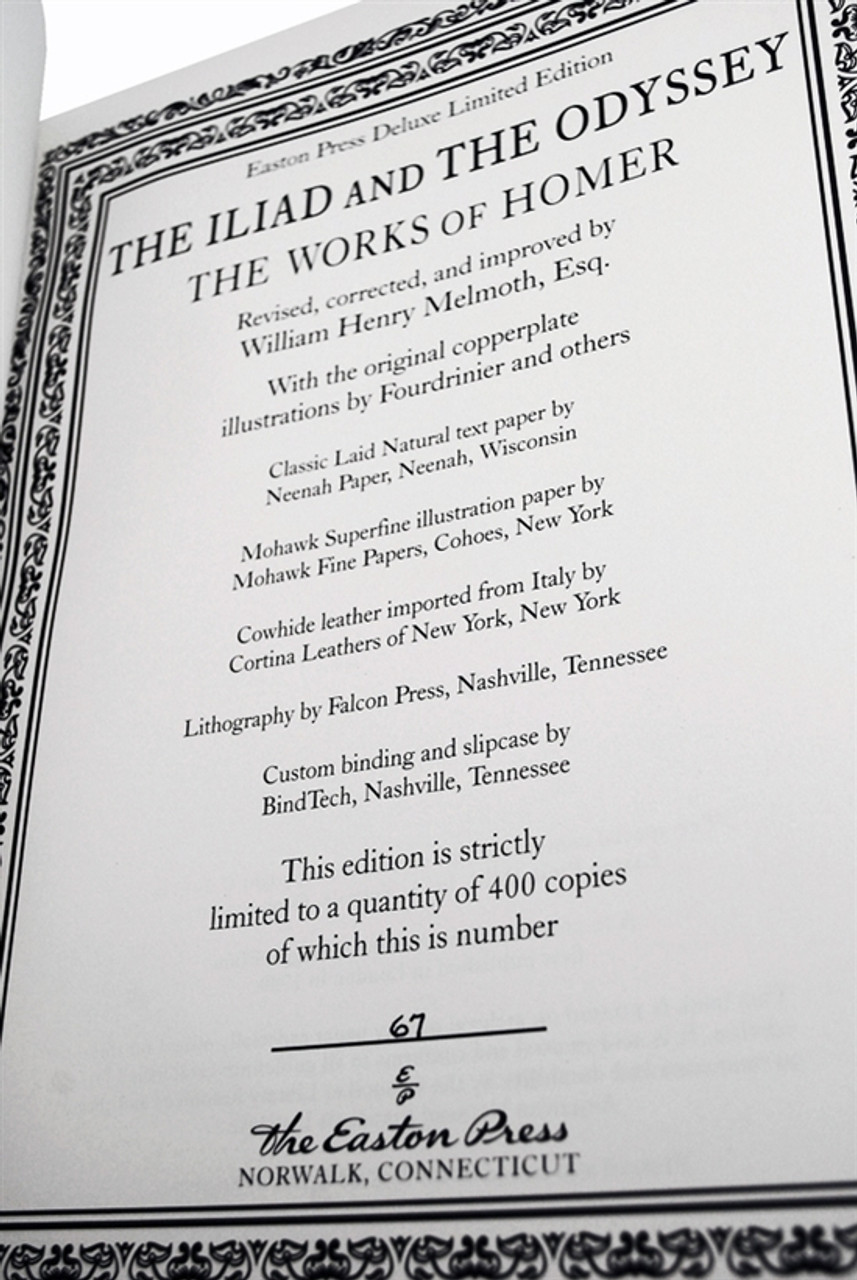 """Easton Press The Works of Homer """"The Iliad and The Odyssey"""" Deluxe Limited Edition of only 400, Slip-cased"""