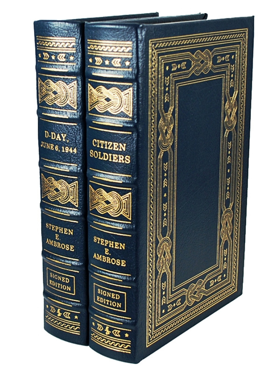 """Easton Press, Stephen E. Ambrose """"D-Day"""", """"Citizen Soldiers"""" Signed Limited Edition, 2-Volume Matching Set [Very Fine]"""