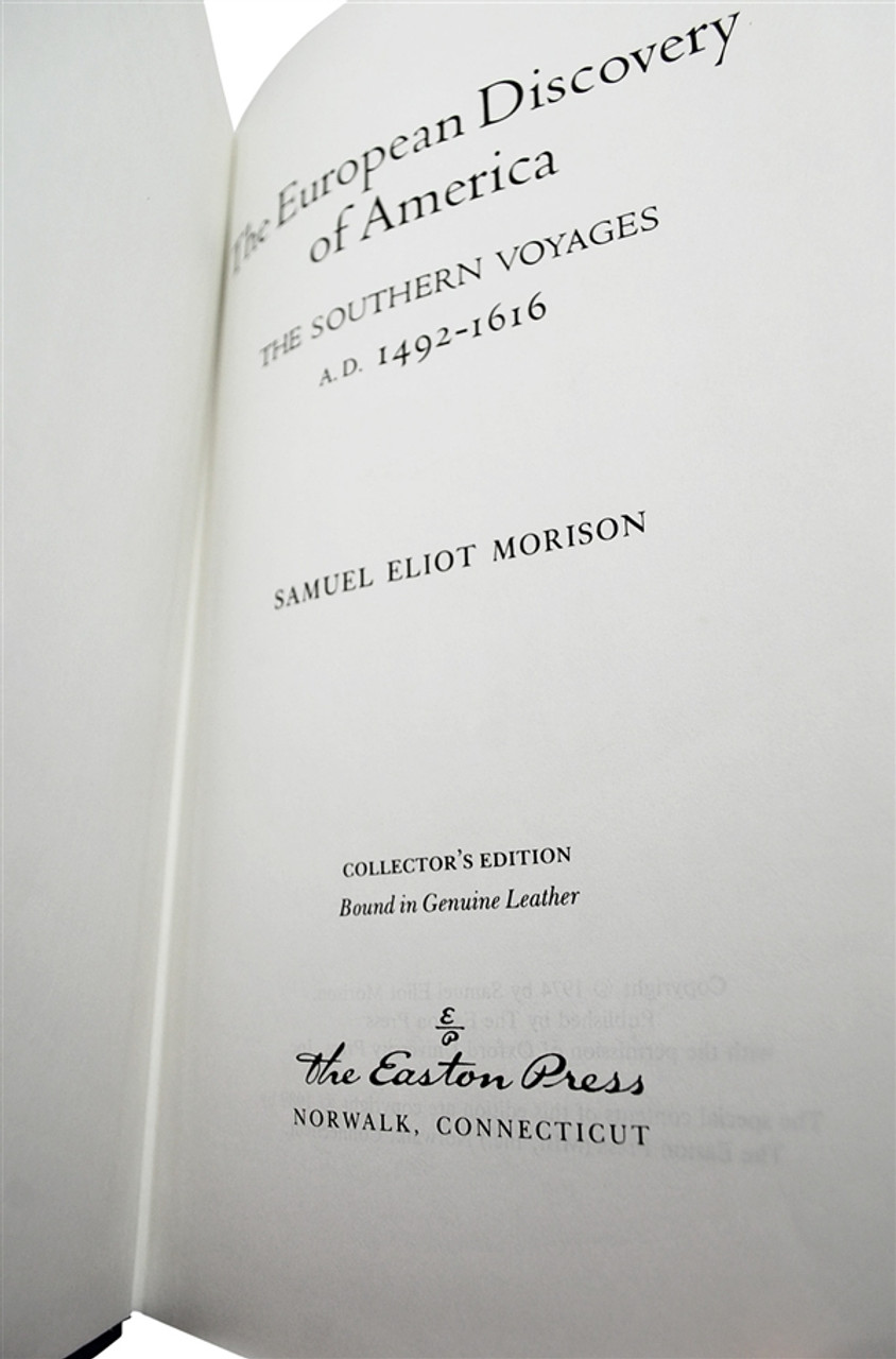 """Samuel Eliot Morison """"The European Discovery Of America"""" Leather Bound Collector's Edition, Two Volume Complete Matched Set"""