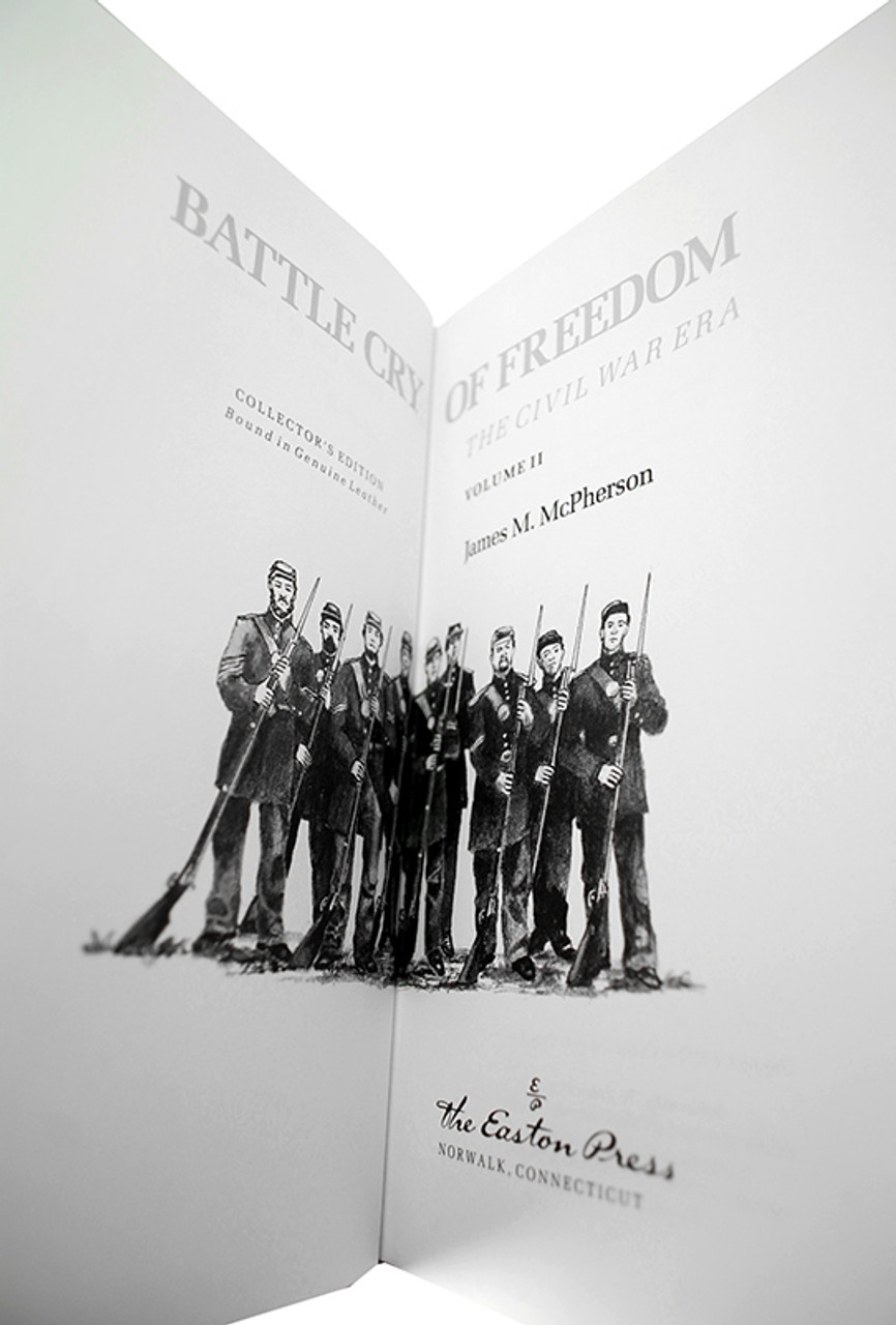 """James M. McPherson """"Battle Cry Of Freedom: The Civil War Era"""" Leather Bound Collector's Edition, Two Volume Complete Matched Set"""