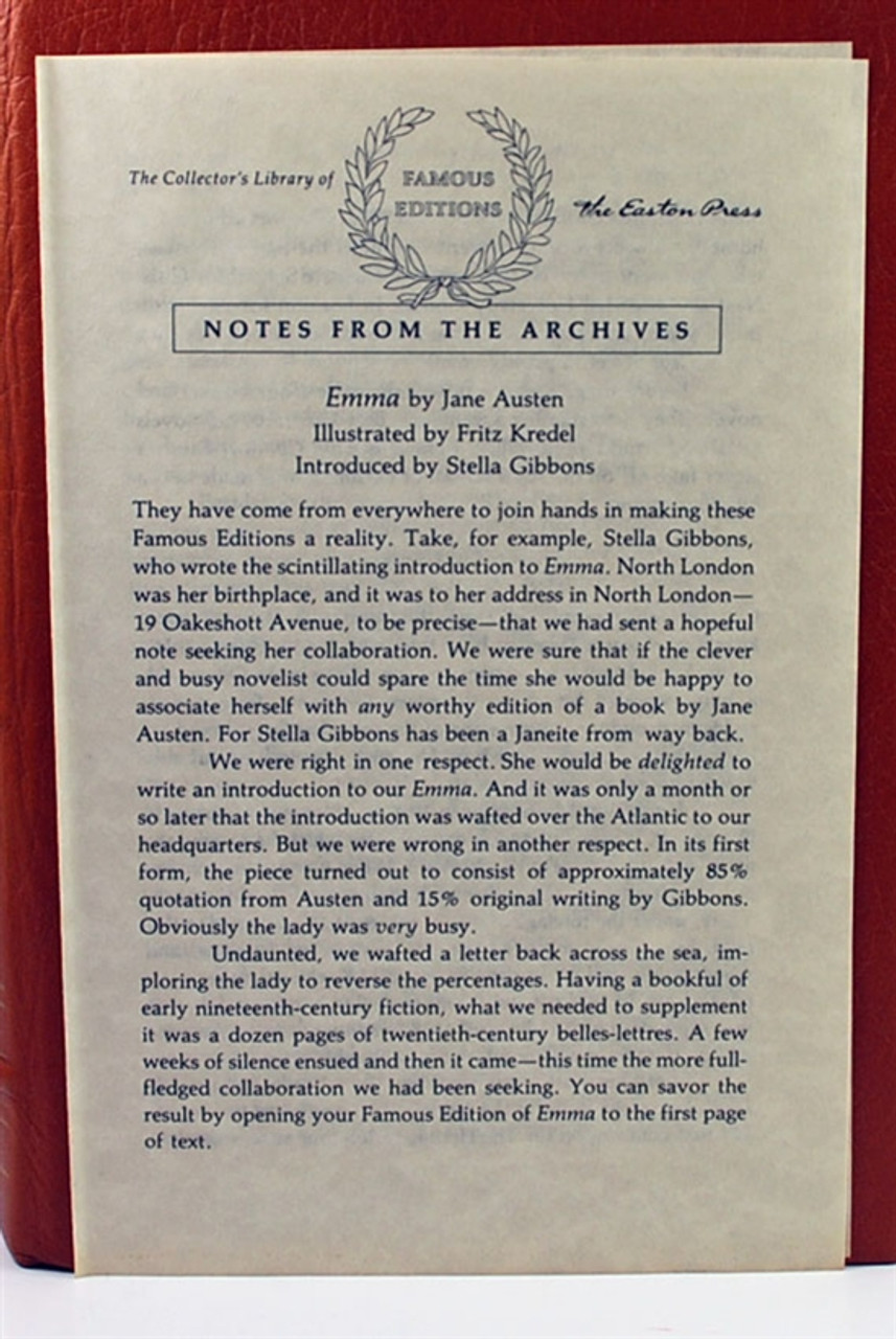 Easton Press 'Emma' Jane Austen Leather Bound