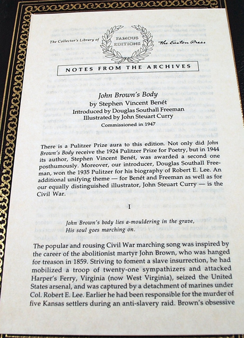 """Easton Press, Stephen Vincent Benet """"John Brown's Body: A Poem"""" Leather Bound Collector's Edition"""