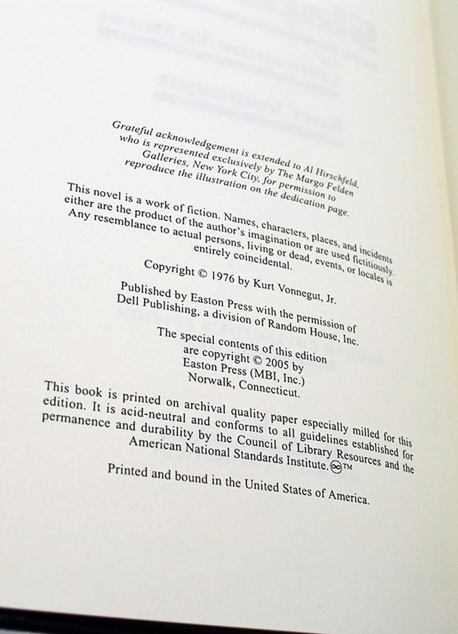 Easton Press Kurt Vonnegut Slapstick Signed Limited Edition Leather Bound Book