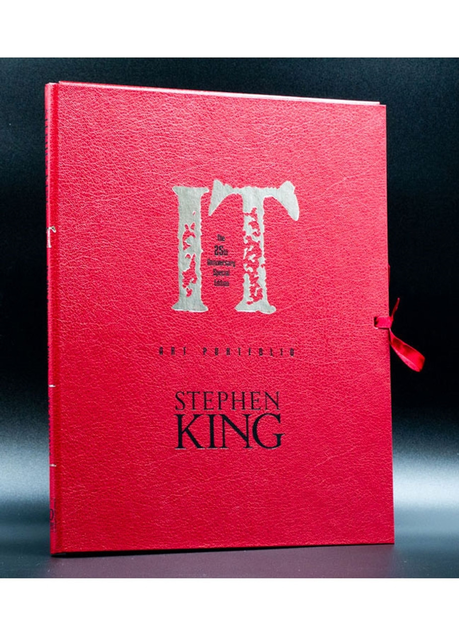 """Stephen King """"IT"""" Signed Limited Deluxe, 25th Anniversary Edition #318 of only 750 Traycased + Matching Artwork Portfolio [Very Fine]"""