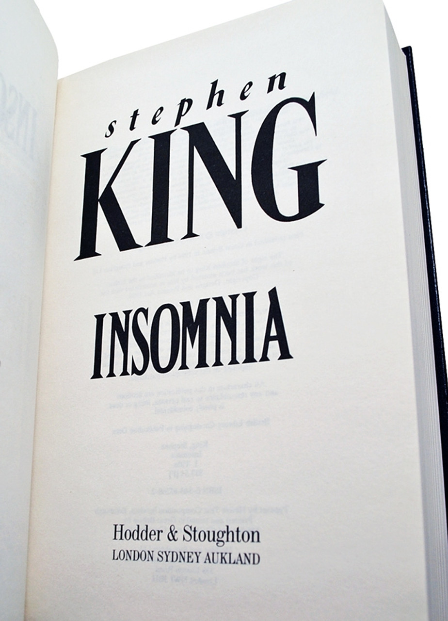 """Stephen King """"Insomnia"""" UK Signed Limited Edition #102/200 Slipcased Edition [Very Fine]"""