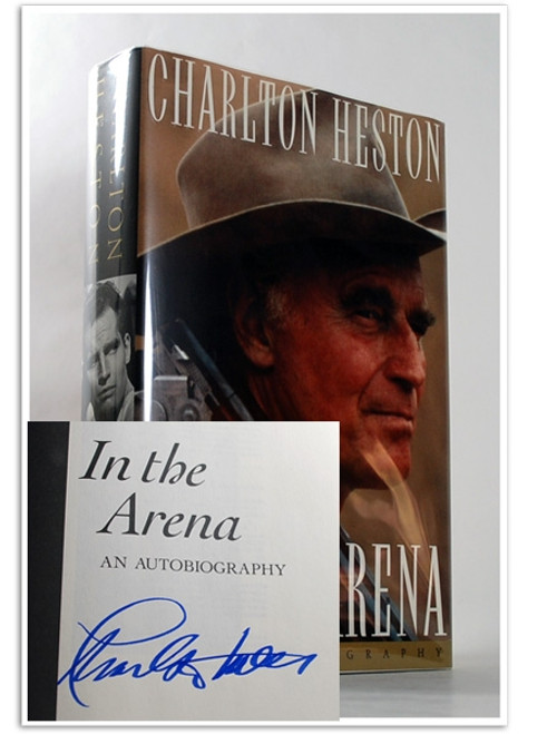 "Simon & Schuster ""In the Arena"" Charlton Heston, Signed First Edition, dj/HC [Fine/Fine]"