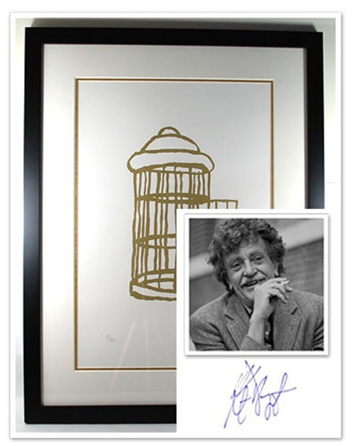 "Kurt Vonnegut Signed Limited Edition ""Gilded Cage"" Silkscreen #5/50 , Double Matted in Museum Quality Glass"