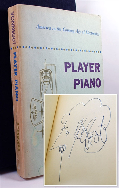 "Kurt Vonnegut ""Player Piano"" Signed Advance Review Proof,  w/Self-Caricature"