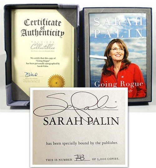 "Sarah Palin ""Going Rogue"" Signed First Edition, Leather Box, S/N w/COA"