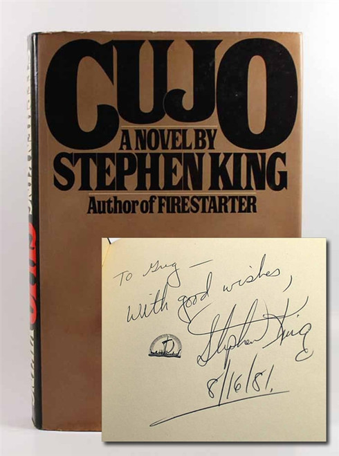 "Stephen King ""Cujo"" Signed First Edition (Year of Publication) dj/HC, Near Fine"