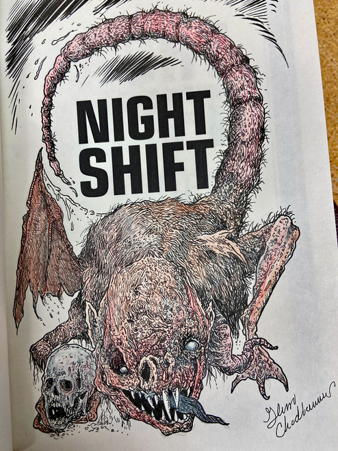 "Stephen King ""Night Shift"" Signed & Remarqued by Glenn Chadbourne, Full Color 1-Page Remarque, The Deluxe Special Limited Slipcased Gift Edition of 3,000 [Very Fine]"