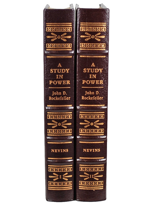 Easton Press Alan Nevins Study in Power: John D. Rockefeller 2 volume set Limited Edition Leather Bound Book