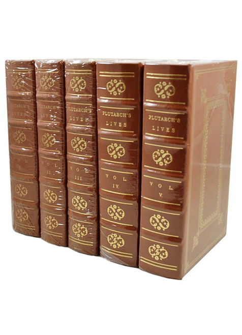 """Easton Press """"Plutarch's Lives of the Noble Greeks and Romans"""" 5-Volume Leather Bound Matching Set of only 400 [Sealed]"""