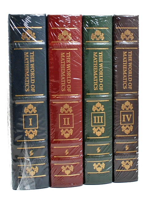 "Easton Press, James R. Newman ""The World of Mathematics"" Leather Bound Limited Edition, Complete Matching 4-Vol. Set [Sealed]"