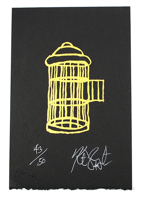 "Kurt Vonnegut Signed Limited Edition ""Gilded Cage"" Silkscreen #43/50 ,"