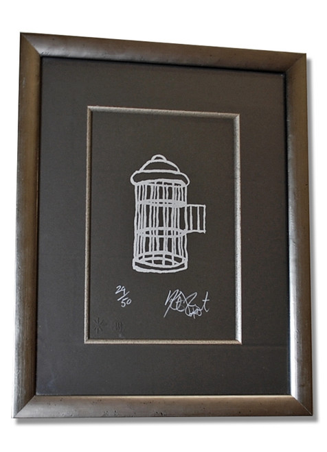 "Kurt Vonnegut FREEDOM Signed Limited Edition ""Gilded Cage"" Silkscreen #24/50"