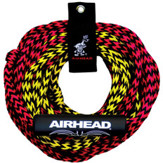 This tube tow rope has 2 sections, giving you the option to tow the tube either 50 or 60 feet behind the boat depending on wake and water conditions. The pre-stretched UV-resistant 7/16 inch diameter 16-strand rope exceeds the 2,375 pound break strength required by the WSIA for 2-rider tubes. A Rope Keeper is included for convenient storage. 253-AHTR2
