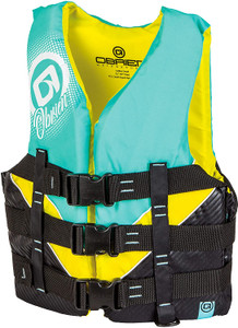 OBRIEN Adult Nylon Pro Life Jacket (Mint Green/Yellow)(LARGE)