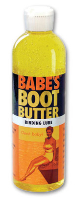 BABE'S Boot Butter is made from kelp providing the perfect consistency – thick enough to stick to the top of your binding, allowing you to slip your foot in and get a snug fit without dripping away. BABE'S Boot Butter dissipates quickly and naturally with no harm to our waterways. Soap dries out your bindings and is harmful to sea life. BABE'S Boot Butter is safe for your foot, your binding and the water.  604-BB7116