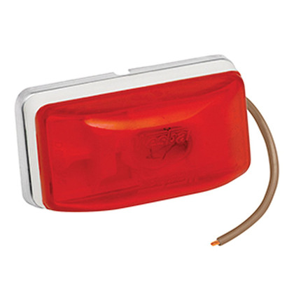 "Sonically-sealed clearance/marker lamps w/break-resistant polycarbonate lens. Pre-installed 15'' pigtail. Properly mounted (""PC"" rated), meets applicable DOT-108 lighting standards for clearance/marker lamps. White base. Size: Stud 2-1/8''Lx1-1/8''Hx1-1/16''D. Ear 3-5/16''Lx1-5/16''Hx1''D. 274-203234/274-203233"