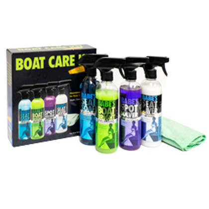 This includes everything you need to clean your boat. Products in this kit include BABE's Boat Bright,  BABE's Seat Soap, BABE's Spot Solver and BABE's Seat Saver. Also in this kit includes an Extreme Performance Towel so that you're able to begin cleaning as soon as you receive it! The products included in this kit are 16 oz. Bottles w/ Spray Nozzle. 614-BB7500