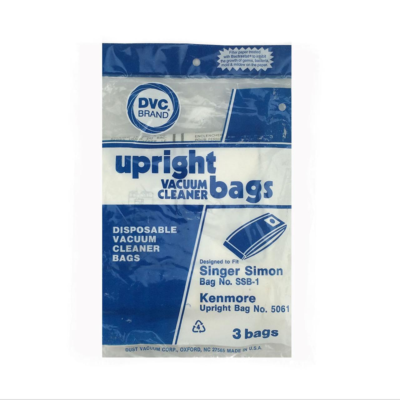 3 Pack Singer Simon SSB-1 Disposable Vacuum Bags