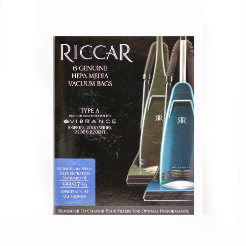 6 Type A HEPA Bags for Riccar Vibrance Simplicity Symmetry Carpet Pro Clean Max