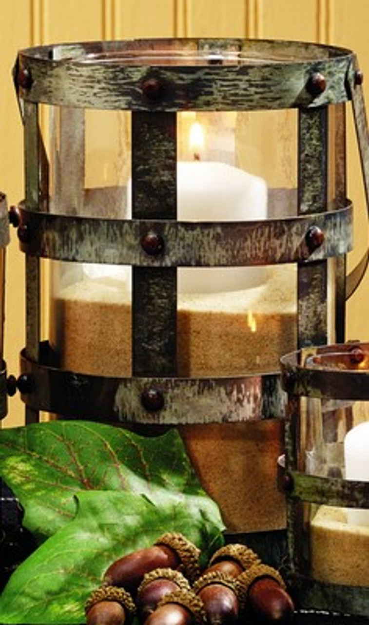 Large Distressed Tin Glass Lantern Candle Holder Market Street Wholesale