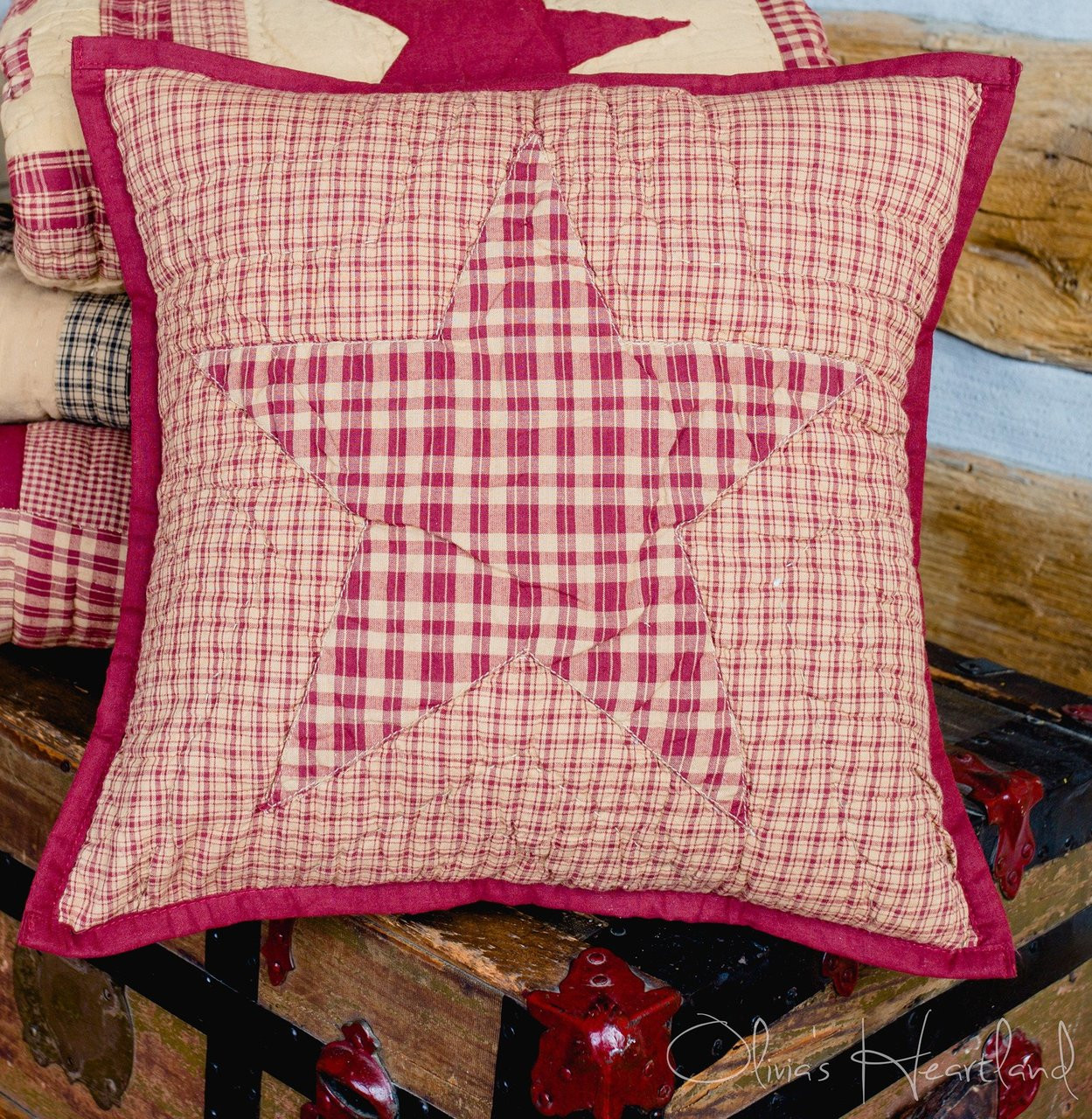 Colonial Star Burgundy and Tan Quilted Pillow