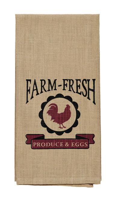"""Red Rooster """"Farm-Fresh Produce & Eggs"""" Dishtowel"""