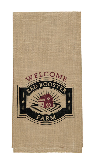 Red Rooster Farm Welcome Dishtowel