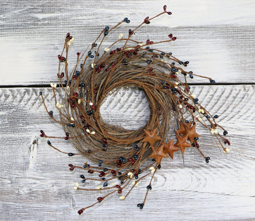 "Pip Berry & Rusty Star Wreath/Candle Ring, 14"" - Patriotic Mix"