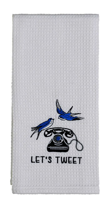 "Sorbet Blue ""Let's Tweet"" Dishtowel"