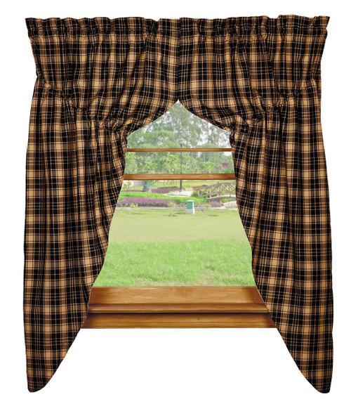 Heritage Check Black Prairie Curtain Set