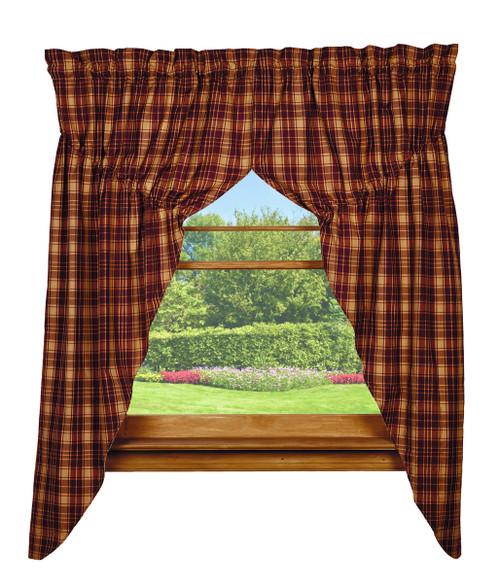 Heritage Check Wine Prairie Curtain Set