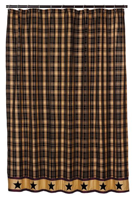 Heritage Star Black Shower Curtain