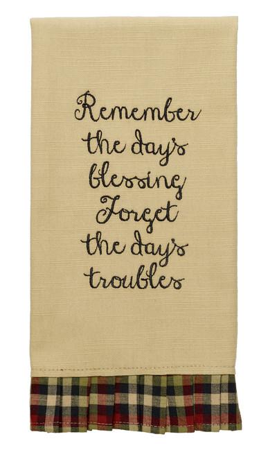 """Tangled Berries """"Remember The Day's Blessing"""" Dishtowel"""