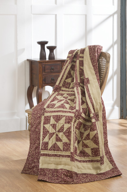 Evelyn Wine Quilted Throw