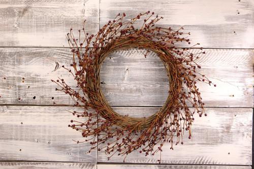 "22"" Burgundy Primitive Pip Berry Wreath"