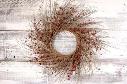 "22"" Burgundy Primitive Pip & Twig Wreath"