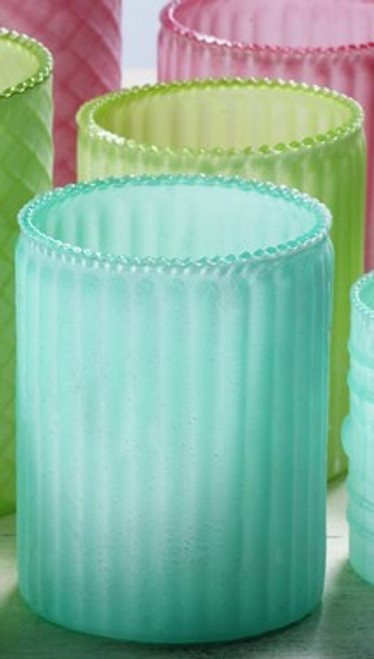 Medium Frosted Glass Candle Holders - Set of 3