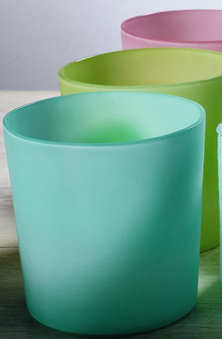 X-Large Frosted Glass Candle Holders - Set of 3