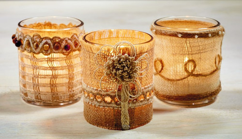 Glass Votive Holders 3 Style Burlap Covers - Set of 12