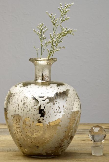 Mercury Glass Etched Apple Jar
