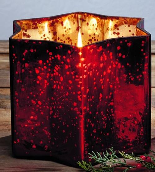 Red Mercury Glass Star Pillar Holder