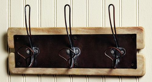 Natural Wood Triple Wall Hook Board