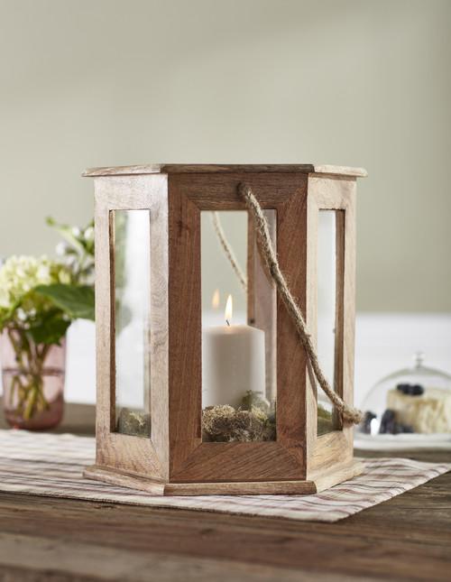 Hexagon Wood Candle Lantern